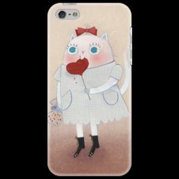"""Чехол для iPhone 5 """"Кошка с леденцом"""" - сердце, кот, рисунок, девочка"""