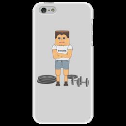 """Чехол для iPhone 5 """"Тренер                   """" - спортсмен, бодибилдинг, качек, тренер"""