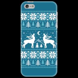 """Чехол для iPhone 5 """"Норвежский лес"""" - новый год, зима, снег, рождество, снежинки, паттерн, олени, deer, норвежский орнамент, уютный"""