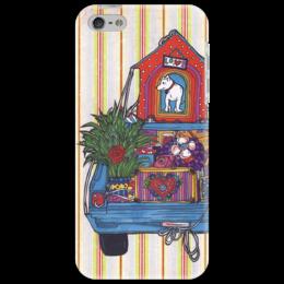 """Чехол для iPhone 5 """"переезд с собакой2"""" - арт, юмор, цветок, в подарок, собака, машина, коробки"""
