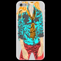 """Чехол для iPhone 5 """"Шейный платок"""" - девушка, оранжевый, красный, галстук, бирюзовый"""