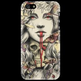 "Чехол для iPhone 5 ""girl scull cat"" - череп, кот, арт, девушка, skull"