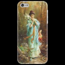 """Чехол для iPhone 5 """"Девушка с эдельвейсами"""" - картина, зацка"""
