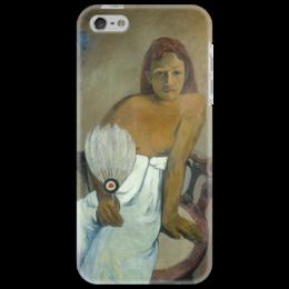 """Чехол для iPhone 5 """"Девушка с веером"""" - картина, поль гоген"""