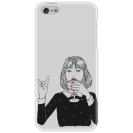 """Чехол для iPhone 5 """"Девушка"""" - девушка, рисунок, бокал"""