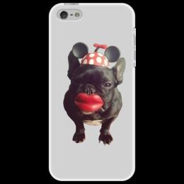 "Чехол для iPhone 5 ""Собака-целовака             "" - мем, губы, собака, шапка"