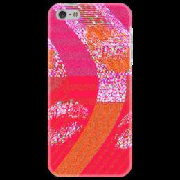 """Чехол для iPhone 5 """"Красная дуга"""" - розовый, дуга, красный, губы, поцелуй"""