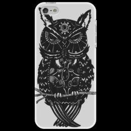 """Чехол для iPhone 5 """"Сова на ветке"""" - арт, рисунок, птицы, авторский, дудлинг"""