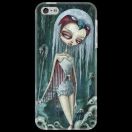 """Чехол для iPhone 5 """"Девушка (зомби)"""" - череп, девушка, хэллоуин, зомби, ворон"""