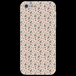 """Чехол для iPhone 5 """"Праздник"""" - елки, сердце, игрушки, звезды, снег"""