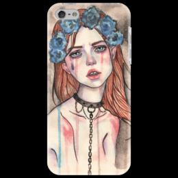 """Чехол для iPhone 5 """"Девочка с ошейником"""" - арт, девушка, бдсм, акварель"""
