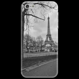 """Чехол для iPhone 5 """"Парижский пейзаж"""" - арт, стиль, фото, черно-белое, в подарок, оригинально, чб, париж, эйфелева башня"""