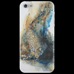 "Чехол для iPhone 5 ""Леопард"" - кот, пятна, леопард, вода, акварель"