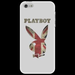 """Чехол для iPhone 5 """"Playboy Британский флаг"""" - playboy, плейбой, плэйбой, великобритания, зайчик"""