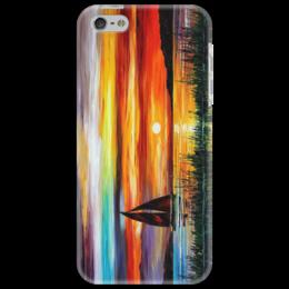"""Чехол для iPhone 5 """"Лодка"""" - море, закат, лодка"""