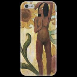 """Чехол для iPhone 5 """"Карибская женщина, или Обнаженная с подсолнухами"""" - картина, пол ьгоген"""