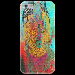 """Чехол для iPhone 5 """"Шейный платок"""" - девушка, фигура, красный, галстук, сине-зеленый"""