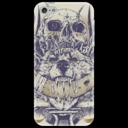 "Чехол для iPhone 5 ""Wolfskull"" - череп, черепа, ужасы, стильное, волк, волки, skull, wolf, horror"