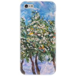 """Чехол для iPhone 5 """"Первый снег"""" - небо, живопись, snow, рябина, гроздья, первый снег"""