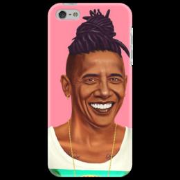"""Чехол для iPhone 5 """"Обама"""" - бобмарли, обама, черный, реп"""