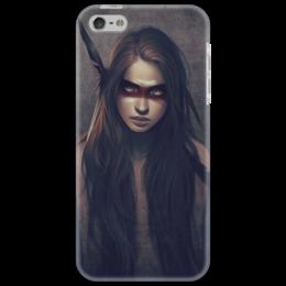 """Чехол для iPhone 5 """"Девушка-индеец"""" - девушка, girl, индеец, перо, native american, длинные волосы"""