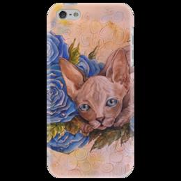 """Чехол для iPhone 5 """"Синий Сфинкс """" - кот, цветы, рисунок, розы, сфинкс"""