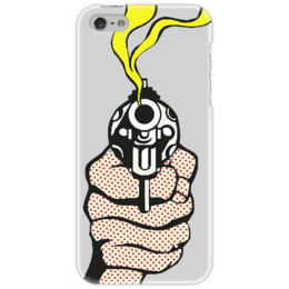 "Чехол для iPhone 5 ""Lichtenstein gun"" - пистолет, комикс, рой лихтенштейн"
