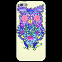"Чехол для iPhone 5 ""яркая сова"" - птицы, краски, сова, эскиз"