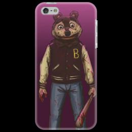 "Чехол для iPhone 5 ""Деревня дураков"" - медведь, кровь, рисунок, россия, бита"