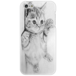 "Чехол для iPhone 5 ""Cat"" - black n white, kitty, cat, котенок"