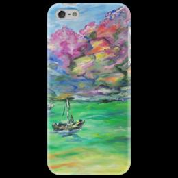"""Чехол для iPhone 5 """"Мечта"""" - море, весна, красота, горы, лодка"""