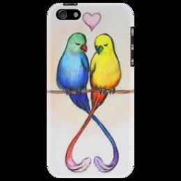 """Чехол для iPhone 5 """"Нежность на ветках 5"""" - природа, пара, нежность, рисунок, любовь"""