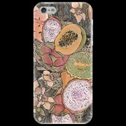 """Чехол для iPhone 5 """"завтрак на пляже"""" - арт, популярные, оригинально, арбуз, ракушка, бали, орхидея, манго, папайя"""