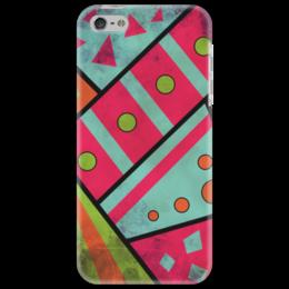 """Чехол для iPhone 5 """"Яркая геометрия"""" - полосы, круги, геометрия, треугольники"""