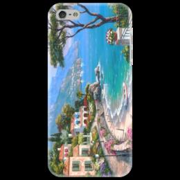 """Чехол для iPhone 5 """"Горы и море"""" - море, горы, пальмы, сады"""