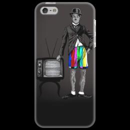 """Чехол для iPhone 5 """"Charlie Chaplin"""" - популярные, прикольные, оригинально, футболка мужская, charlie chaplin"""