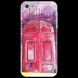 """Чехол для iPhone 5 """"Двери любви из Парижа"""" - red, париж, door, paris, анастасияцапко, красная дверь"""