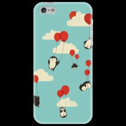"""Чехол для iPhone 5 """"Пингвины на воздушных шариках"""" - рисунок, полет, пингвин, шар, облоко"""