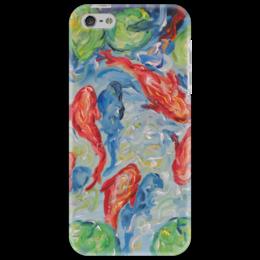 """Чехол для iPhone 5 """"Золотые рыбки"""" - лотосы, ищу недорогой подарочек, нравятся рыбы, рыбки в пруду, купить подарок в интернете"""
