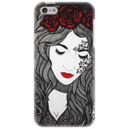 "Чехол для iPhone 5 ""Lady Rose"" - арт, black, red, графика, девушке, розы, авторская работа, roses, an"