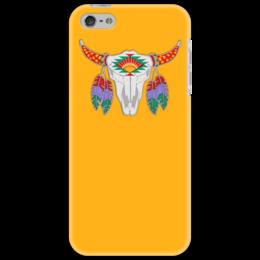"""Чехол для iPhone 5 """"Этнический бык"""" - 23 февраля, желтый, этно, бык, bull"""