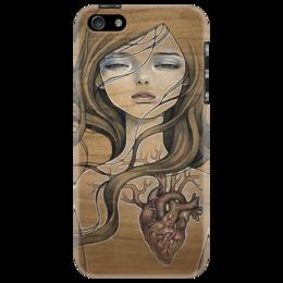 "Чехол для iPhone 5 ""heart_black"" - арт, девушка, girl, сердце"