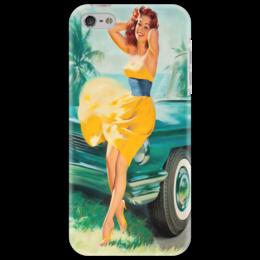 """Чехол для iPhone 5 """"Девушка у машины"""" - ретро, машина, пинап, pin-up"""