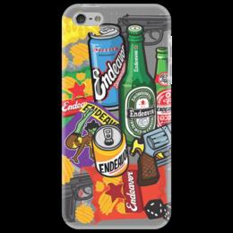 """Чехол для iPhone 5 """"endeavor"""" - пиво, кубики, ствол, чипсы"""