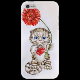 """Чехол для iPhone 5 """"Котёнок с герберой"""" - кот, цветы, рисунок, котёнок, гербера"""