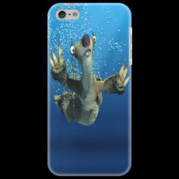 """Чехол для iPhone 5 """"Ледниковый период (Сид под водой)"""" - под водой, ленивец, сид, ice age, ледниковый период"""