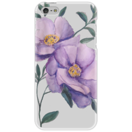 """Чехол для iPhone 5 """"Ветка цветов"""" - цветы, сиреневый, акварель"""