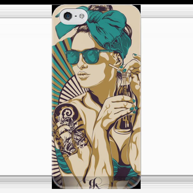 Чехол для iPhone 5 глянцевый, с полной запечаткой Printio Девушка с tatoo футболка рингер printio tatoo girl