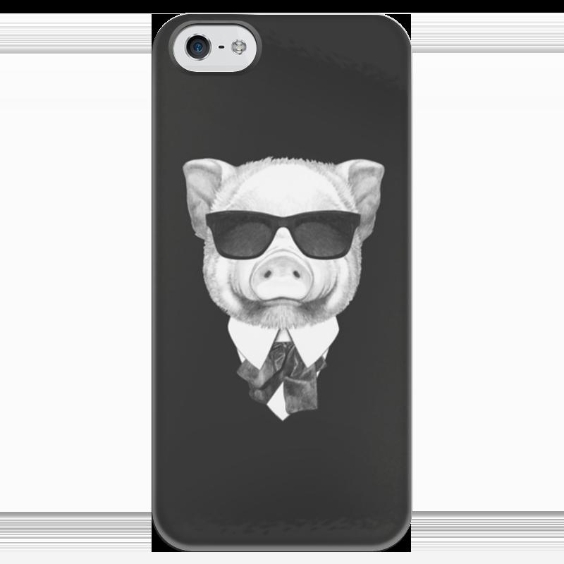 Чехол для iPhone 5 глянцевый, с полной запечаткой Printio Черно-белый поросенок