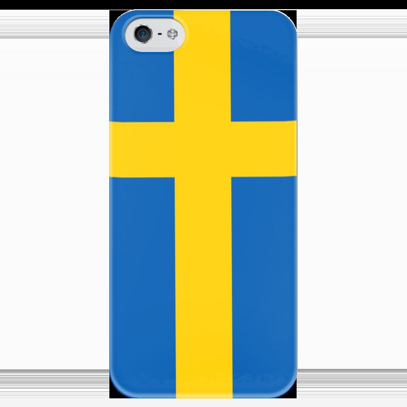 Чехол для iPhone 5 глянцевый, с полной запечаткой Printio Флаг швеции котелок шак армии швеции продам